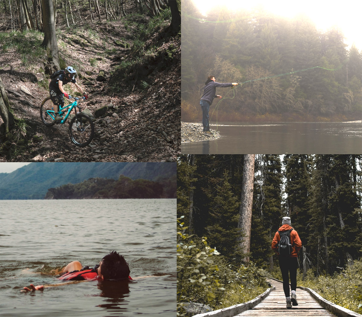 Collage image of man cycling, fishing, swimming and hiking at hills & ranges private
